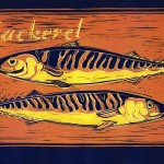 Barry's mackeral reduction linocut