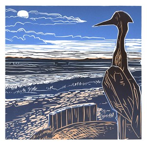 The Adur heron looks out (detail)